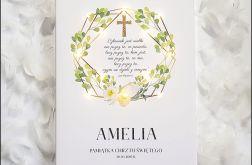 Pamiątka Chrztu prezent chrzciny kwiaty złoty