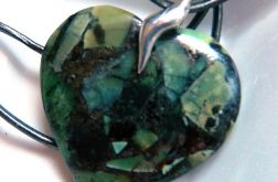 Turkus z pirytem, zielone serce w srebrze