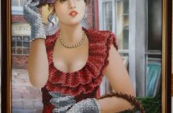 Dama w kapeluszu Haft koralikowy