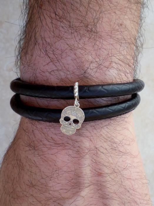 Bransoleta na Rzemieniu Skull