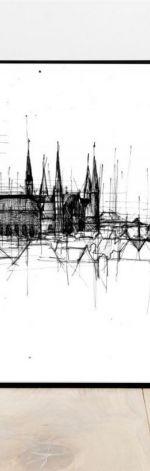 PLAKAT Gdańsk czarno biała grafika