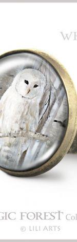 Pierścionek - Biała sowa - antyczny brąz
