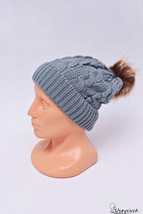 Czapka zimowa z pomponem czapka na zimę szara