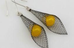 Żółte w rożku - kolczyki