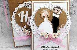Kartka na Ślub Eko różowa w torebce SLB 045