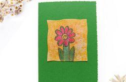 Kartka uniwersalna zielona z kwiatkiem  1