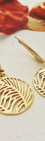 Kolczyki Srebro 925 Pozłacane Liść Palmy