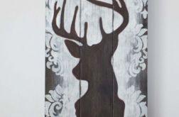 Jeleń Jelonek Obrazek Tablica Ręcznie Malowany