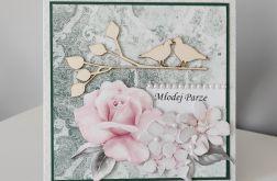 Kartka na ślub ślubna miętowa z róża