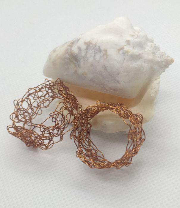 Obrączki miedziane wire crochet - Obrączki wykonane metodą wire crochet