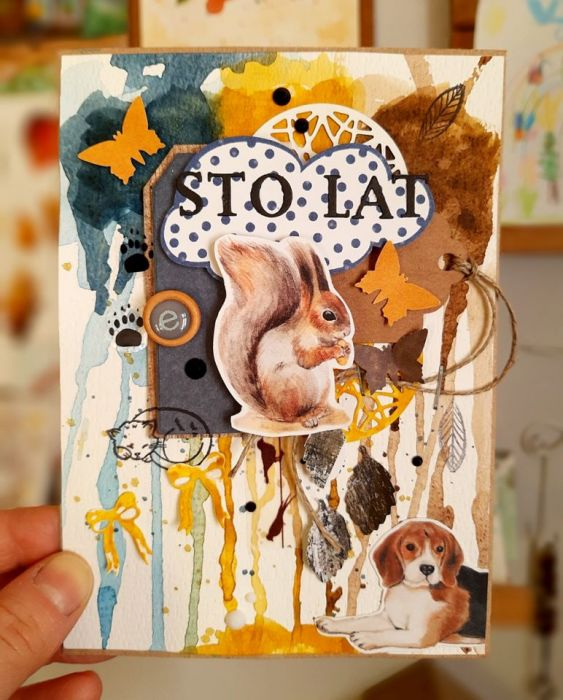 Leśna kartka dla miłośnika zwierząt