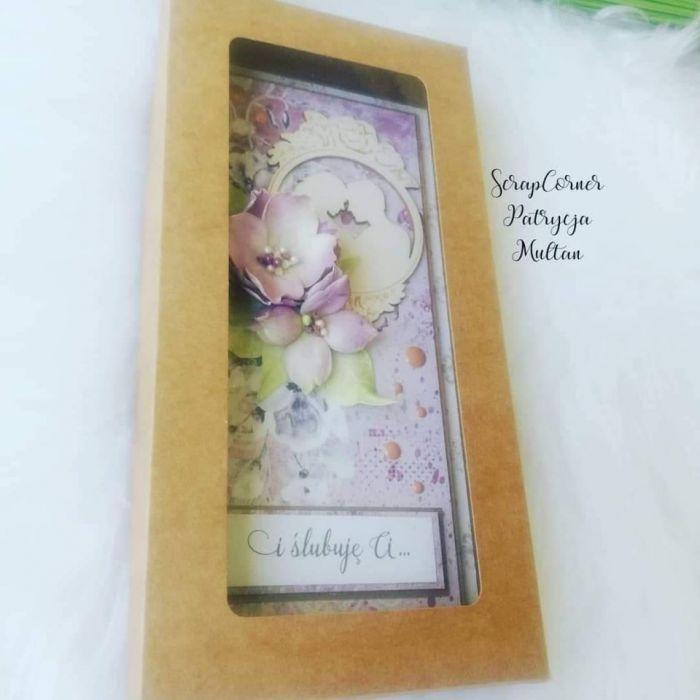 Kartka ślubna w fiolecie -