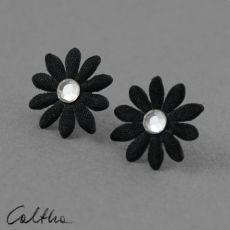 Kwiatuszki z kryształkiem - kolczyki