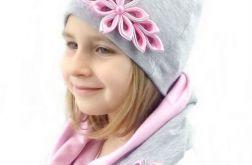 Komin, czapka i opaska szaro -różowe