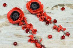 Eleganckie kolczyki kwiaty czerwone maki