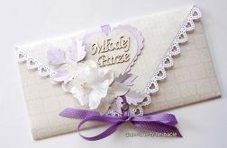 Kopertówka na ślub beżowo - fioletowa