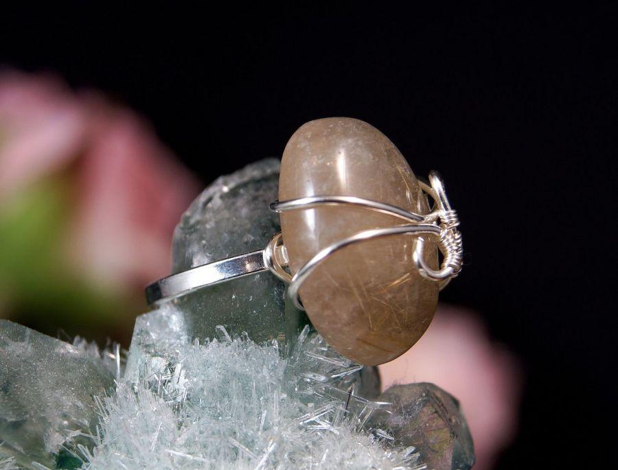 Kwarc Srebrny pierścionek z kwarcem z rutylem