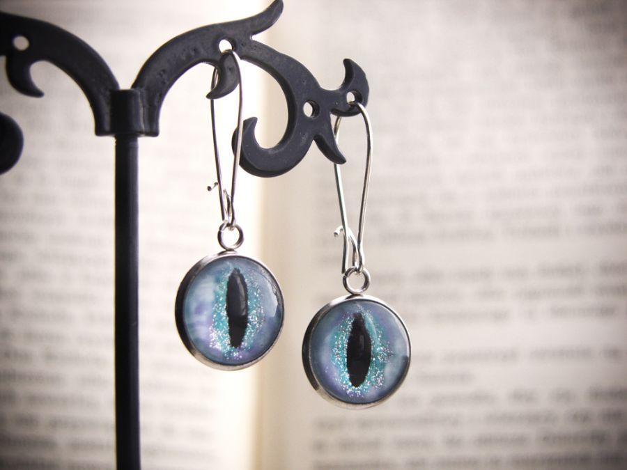 Kolczyki wiszące kocie oczy, smocze oczy