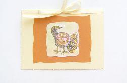 Kartka z kokardką i z ptaszkiem nr 3