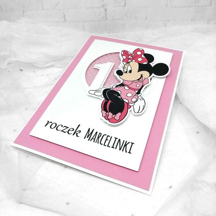 kartka na roczek z myszką Minnie UDP 001 - Kartka na urodziny roczek z myszką Minnie(3)
