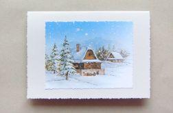 Górska chatka - Kartka ręcznie robiona