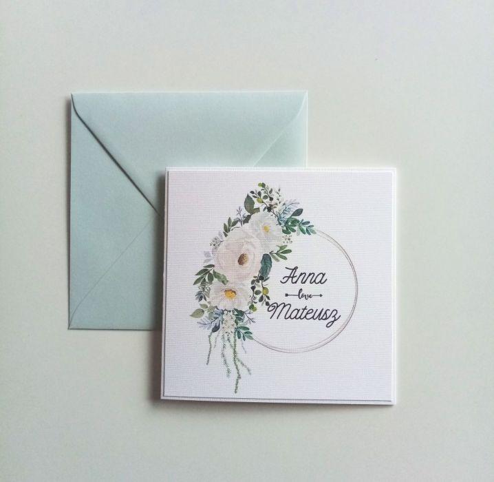 Zaproszenie ślubne z przepięknym wiankiem - róże02