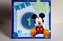 Kartka na Roczek Myszka Miki