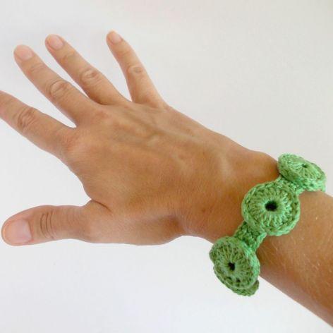 Bransoletka szydełkowa - soczysta zieleń