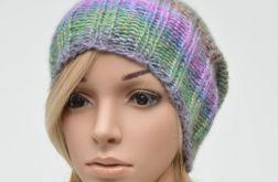 czapka z szerokim ściągaczem - turkusy