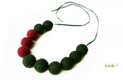 Korale z filcu bordowo zielone filc Hand Made