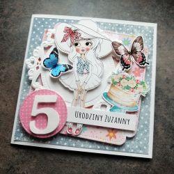 Kartka na urodziny lala z motylkami UDP 037