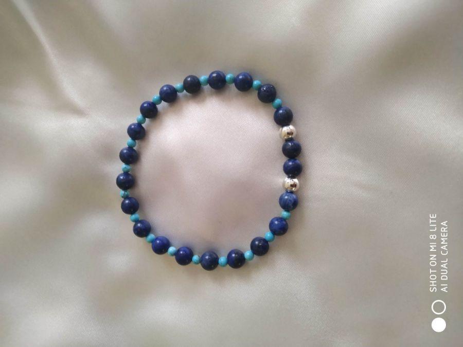 Bransoletka z naturalnego lapis lazuli,srebro - Delikatna bransoletka