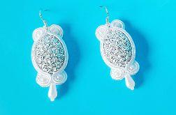 Białe, srebrne kolczyki sutasz ślubne, wesele