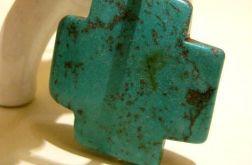 Wielki turkusowy krzyż - wisior na rzemieniu