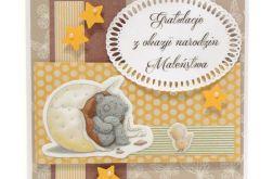 Kartka gratulacje z narodzin misiek w jajku