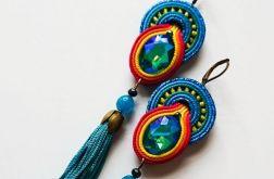 Turkusowo-kolorowe kolczyki z chwostami