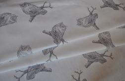 Bieżnik - szare sowy na białym tle 50 x 135 cm