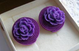 Purpurowe róże - kolczyki sutasz