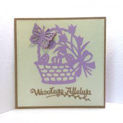 Kartka wielkanocna - fioletowy koszyczek