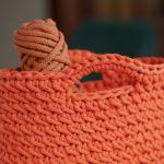 Mała torebka na szydełku ze sznurka pomarańczowa - Długość 21 cm