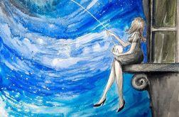 """Księżycowa włóczka"" akwarela, obraz A3"