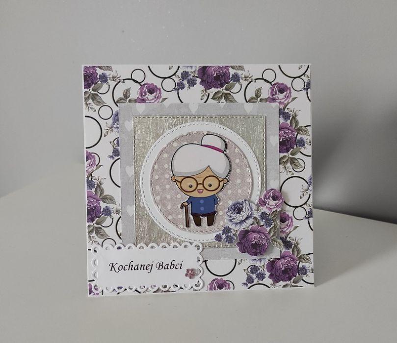 Kartka na Dzień babci kwiaty fioletowe