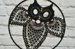 Szydełkowa dekoracja- czarna sowa