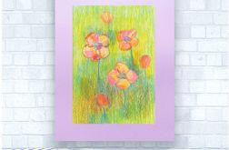 Rysunek kwiaty na fioletowym tle nr 19 szkic