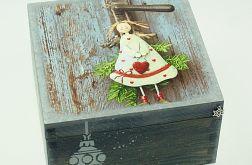 szkatułka drewniana, pudełko- Anioł