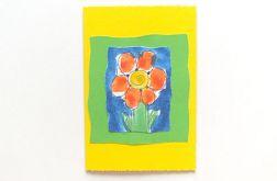 Kartka żółta z kwiatkiem 9
