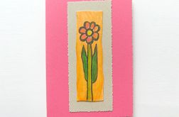 Kartka uniwersalna różowa z kwiatkiem 6