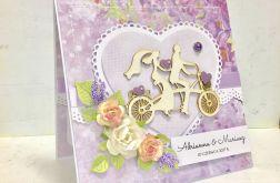Kartka ślubna w pudełku z sercem fiolet1