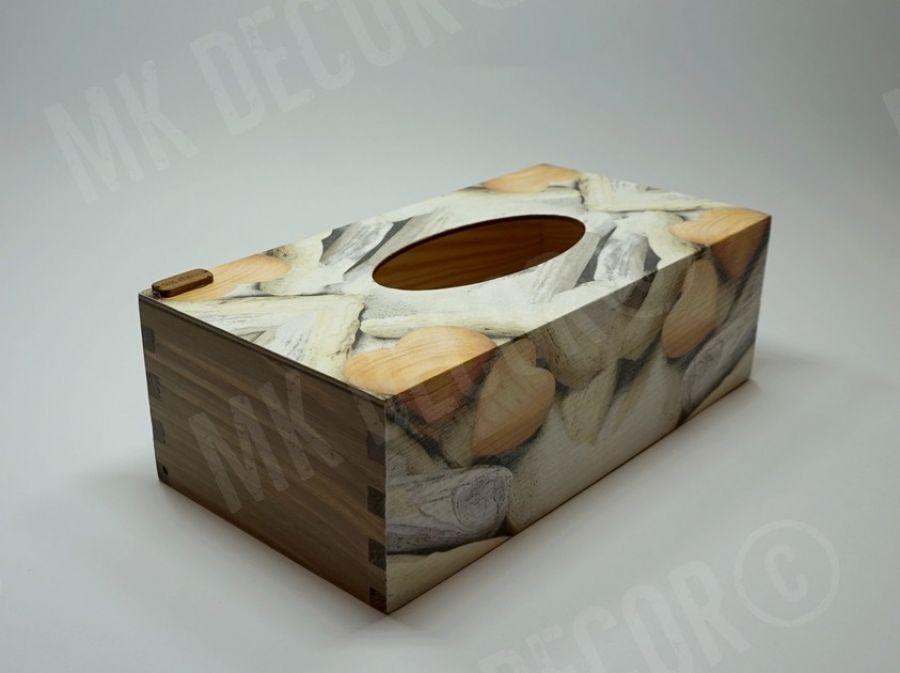 Pudełko prostokątne na chusteczki - serca - chustecznik