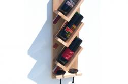 Półka stojak na wino i kieliszki drewno